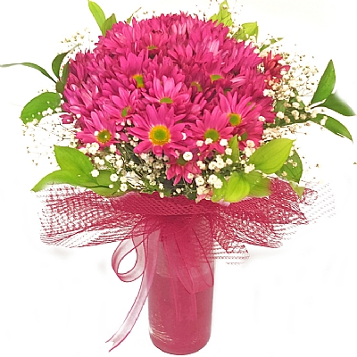 Pembe Mevsim Çiçekleri Buketi