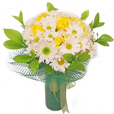 Sarı ve Beyaz Mevsim Çiçekleri Buketi