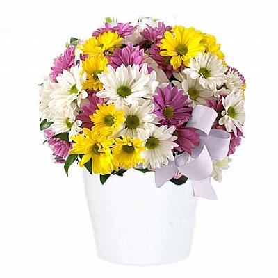 Seramikte Renkli Mevsim Çiçekleri