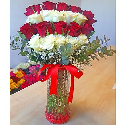 Vazoda 20 Kırmızı ve Beyaz Güller